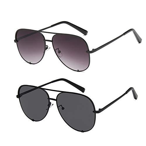 SORVINO Aviator Sunglasses for Women Classic Oversized Sun Glasses UV400 Protection (A-2pack-Black+Fade, 60)