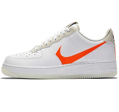 Nike AIR Force 1 '07 LV8 3, Chaussure de Basketball Homme, White Total Orange Summit White Black, 47.5 EU