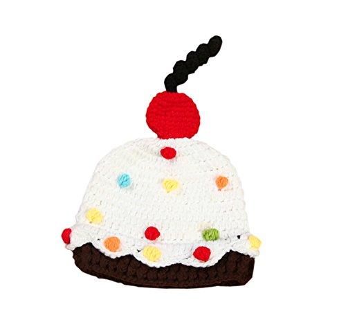 DELEY Unisexe Bébé Doux de Dessert Gâteau de Chapeau de Crochet Bébé Vêtements Tenue de Photo Accessoires de 0 à 6 Mois