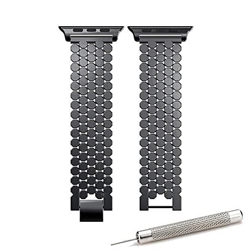 TRSX Reloj Correa Serie de relojero de Acero Inoxidable 5 4 3 2 38mm Strap de reemplazo de 42 mm para 40 mm 44mm Accesorios de Reloj (Band Color : Black, Band Width : 38mm or 40mm)