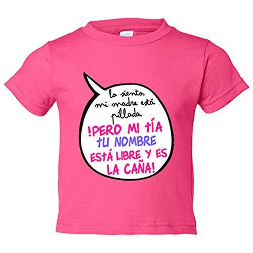 Camiseta bebé personalizable con nombre frase divertida mi tía está libre y es la caña chica - Rosa, 2 años