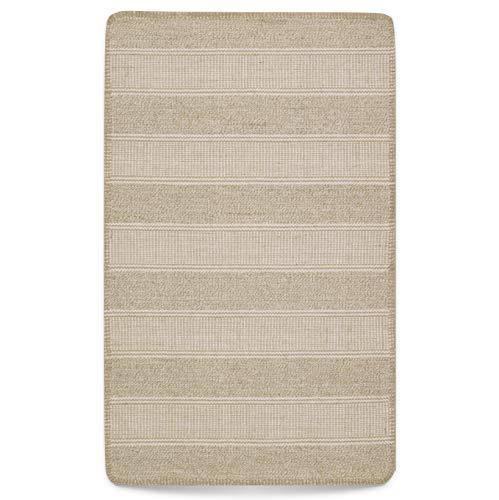 Alfombra 50 x 80 cm de algodón yute tejido plano beige natural IKEA Klejs, alfombra de algodón de fibra natural de yute (1 unidad: beige/blanco natural, 50 x 80 cm)