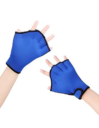 LORIE Aquatic Gloves Fitness Water Resistance Training Aqua Fit Webbed Swim Gloves(Blue,M)