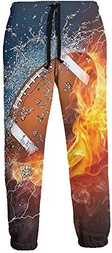 Generic Fußball auf Feuer Wasser Flamme Spritzen Herren Sport Joggerhose Lässige grafische Hose Jogginghose mit Kordelzug M.