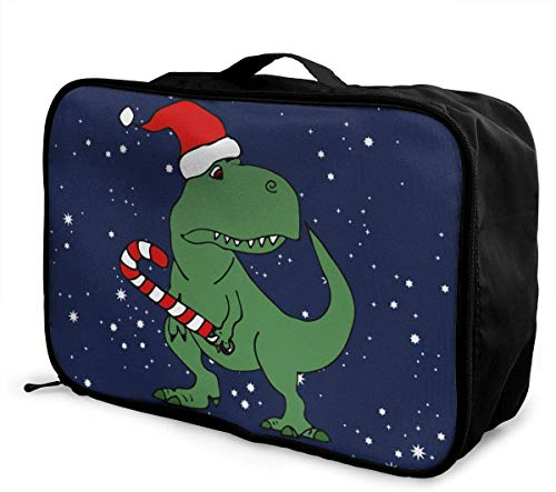Dinosaurier in Weihnachtsmütze Weihnachten Lage Bag Kapazität Portable Large Travel Duffel Bag