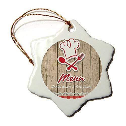 Mesllings - Marco retro vintage con diseño de menú de restaurante, adorno especial personalizado para niños, decoración navideña, regalo de Navidad, decoración de vacaciones, copo de nieve personalizado, adorno de porcelana