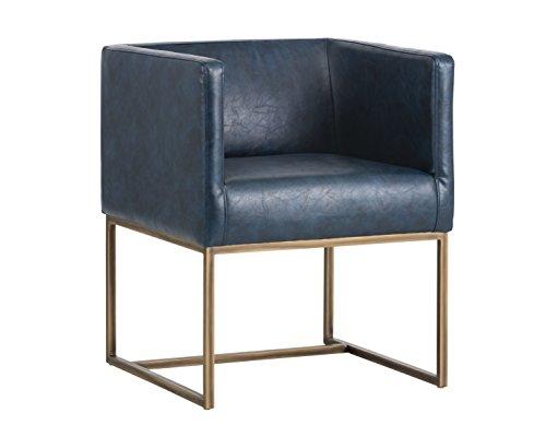 Sunpan Modern Sunpan Kwan Armchair - Rustic Bronze - Vintage Blue Chair Blue Blue