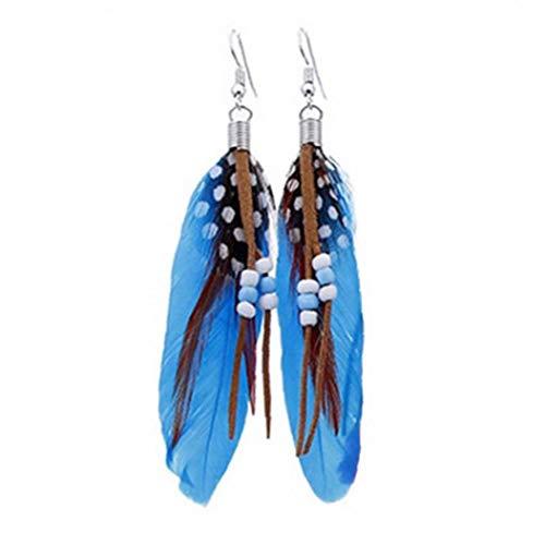 Gesäumt Feder-Ohrringe Fertigkeit-Korne Baumeln Tropfen-Ohrring-Langer Ohrschmuck Geschenk Böhmische Für Frauen (Blau)
