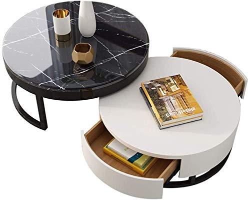 Runt soffbord, 18 mm bänkskiva i marmor, expansionsfogdesign 360 & deg;Rotation, dubbel lådkapacitet (färg: C)