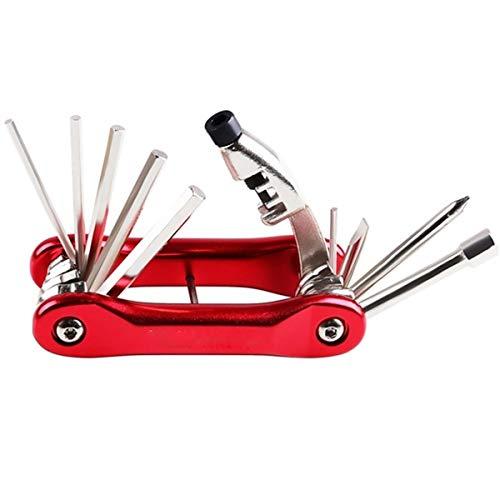 Bidet Cyclo Repair Tool Kit 10 en 1 Multi-Fonction vélo Outils de réparation vélo Vélo Outils à vélo Portable for Tous Les Types de vélos (Color : Red)