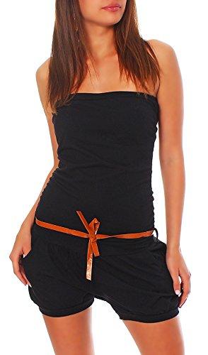 Malito Damen Einteiler kurz in Unifarben | Overall mit Gürtel | schicker Jumpsuit | Romper - Playsuit - Hosenanzug 8964 (schwarz)