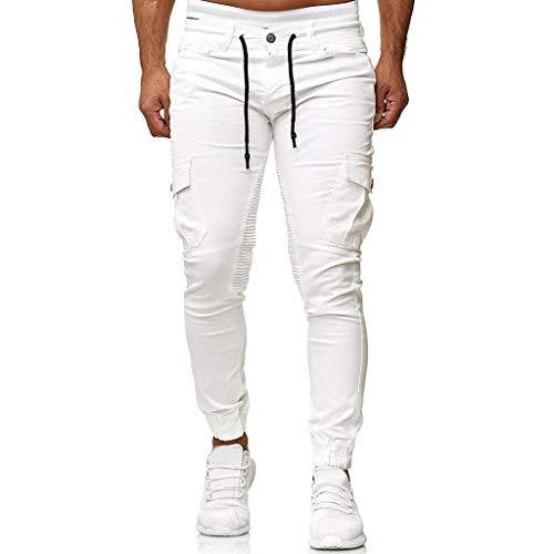 MINIKIMI Herren Jogging Hosen Jogginghose Cargo Chino Jeans Stretch Jogger Sporthose Slim-Fit Sweathose Cargohose Fitness Trainingshose M-3Xl (XXL, Weiß)