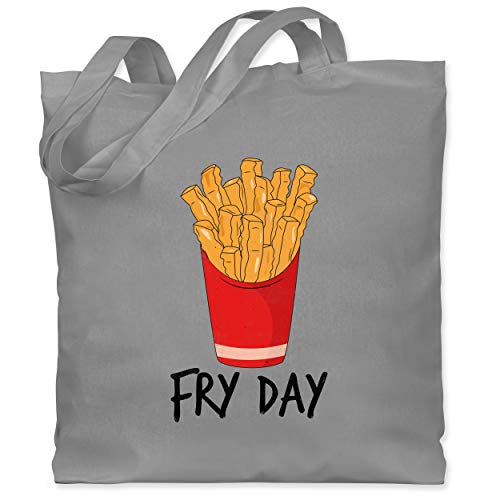 Shirtracer Statement - Fry Day - Pommes frites - Unisize - Hellgrau - statement tasche - WM101 - Stoffbeutel aus Baumwolle Jutebeutel lange Henkel