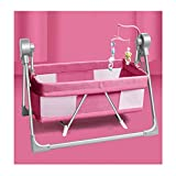 JIAX Cunas para Bebés, Mecedoras para Bebés Eléctrico Moisés para Bebé Portátiles 2 En 1, Cuna Mecedora, Cuna Plegable Fácil, Plegado Rápido para Bebés Recién Nacidos (Color : Pink)