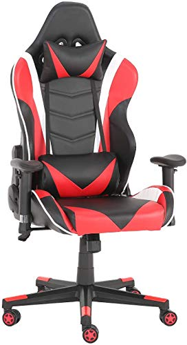 Futurefurniture - Silla para gaming, con reposacabezas y cojín lumbar, color rojo