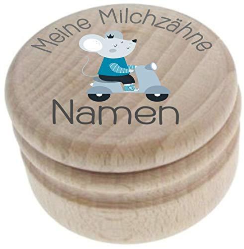 Milchzahndose aus Holz – Meine Milchzähne – Zahndose mit Namen personalisiert – Die Zahnbox hat einen Deckel mit Schraubverschluss - perfekt als kleines Geschenk · Zahnfee - für Jungen & Mädchen - 2