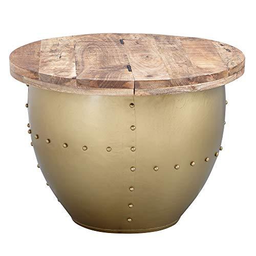 FineBuy Couchtisch Golden Mango Massivholz/Metall 60x43x60 cm Industrial Style Rund   Design Wohnzimmertisch mit Stauraum   Moderner Loungetisch Sofatisch