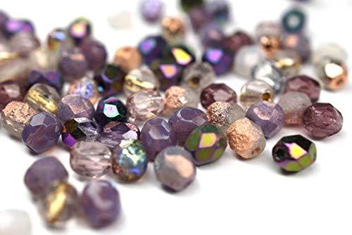 PaperMaid 50 Mix Amethyst Rosa Violett böhmische Perlen 4mm, tschechische feuerpolierte facettierte Glasperlen DIY Glasschliff 4mm