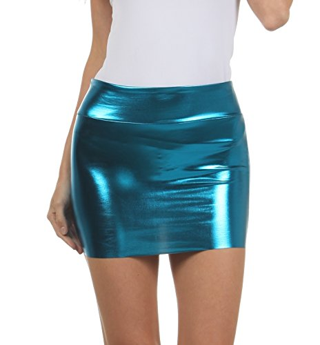 Sakkas 6924 Women's Shiny Metallic Liquid Mini Skirt - Turquoise - Small