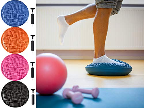 Vivo Black Extra Thick 33/34cm Balance Cushion Air Stability Wobble Board Ankle Rehab Cushion for ADHD Fitness Exercise Workout Posture Trainer with Free Pump to Adults or Children