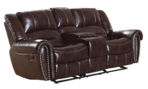 Homelegance Center Hill 83' Double Glider Reclining Loveseat With Console, Dark Brown Leather Gel Match