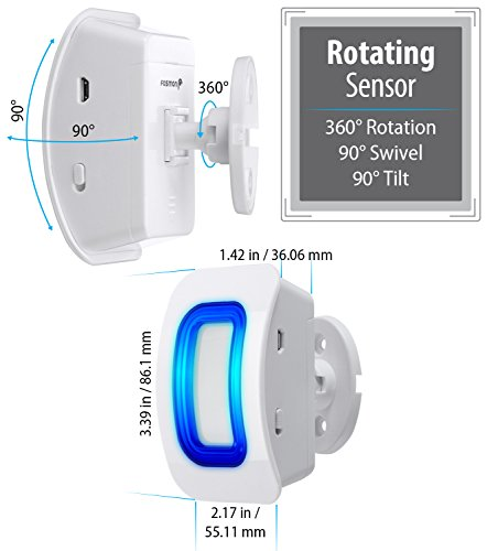 Fosmon WaveLink Wireless Motion Sensor Detect Alert Alarm Chime, Security Doorbell for Home Garage Shop Store (Operating Range 150M/500FT | 52 Chime Tunes) - 1 Motion Detector, 1 Plugin Receiver