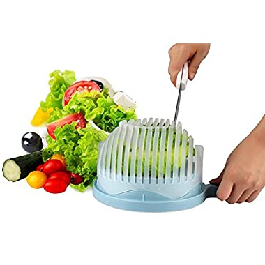 Salad Cutter Bowl, 60 Seconds Salad Maker Bowl Vegetable Fruit Cutter Chopper Bowl Make Your Salad Easily, Blue