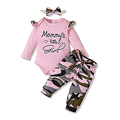 3PCS Newborn Baby Girls Clothes Infant Outfit,Romper Bodysuit Long Sleeve Jumpsuit T-Shirt Ruffled +Camouflage Long Pants+Headband Casual Set Fall Winter from
