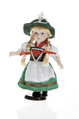 Sammlerpuppe, Porzellanpuppe, Trachtenpuppe Tracht Puppe Mädchen 30cm 111521