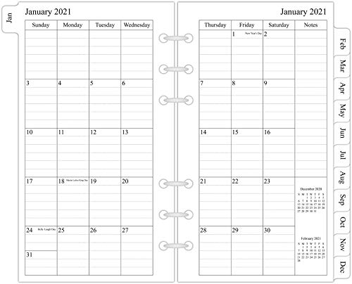 2021 Monthly Planner Refill, 3-3/4' x 6-3/4', Two Page Per Month, January 2021 - December 2021, Personal Size/Size 3