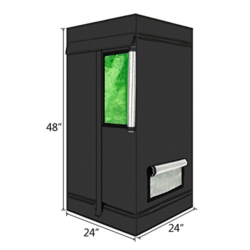 Valuebox 24'x 24' x 48' Mylar Hydroponic Grow Tent with Viewing Window and Light Save for Indoor Plant Growing 2x2x4 Feet