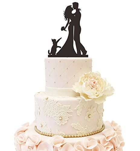 Hochzeit Clock Company Silhouette Tortenaufsatz Braut Bräutigam mit einem Hund A Cat