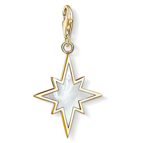 Thomas Sabo - Colgante de Mujer 'Estrella del nácar Charm Club', Plata de Ley 925, baño de oro amarillo de 18 quilates, Blanco