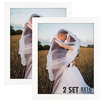 Golden State Art, Set of 2, 8x10 White Wooden Picture Frame - Tabletop/Wall Display - Great for Group/Family Photos - Landscape/Portrait - Real Glass - Simple Classic Design