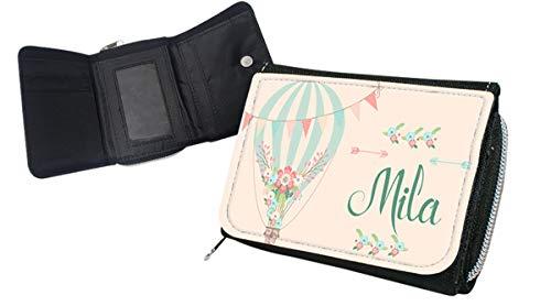 wolga-kreativ Kindergeldbörse Geldbörse Geldbeutel Portemonnaie mit Namen Luftballon Heißluftballon für Mädchen personalisiert für Kinder klein Geschenk Geburtstag Einschulung Schultüte Füllung