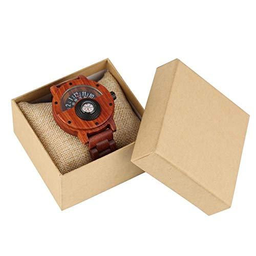 FFHJHJ Holzuhr Brown Quartz Wooden Watch für Herren Plattenspieler Zifferblatt mit Kompass Holzuhr Praktische Holzband Armbanduhr, rot mit Box