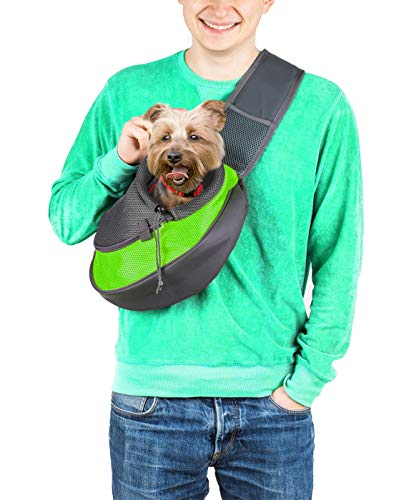 Cuddlissimo! Pet Sling Carrier - Small Dog Puppy Cat Carrying Bag Purse Pouch - for Pooch Doggy Doggie Yorkie Chihuahua Baby Papoose Bjorn - Hiking Travel Front Chest Body Holder Pack to Wear (Green)