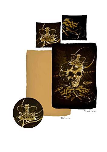 Mako satijnen lakens KingSkull, merkartikelen, Black Lion, van Ido
