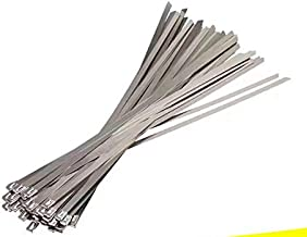 ZRM&E 100pcs Stainless Steel Cable Ties, 15.8 Inches (40CM) Self-Locking Cable Zip Ties High Loop Tensile Strength Durability