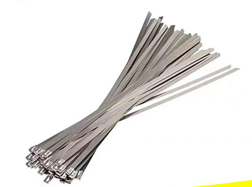 ZRM&E 100pcs Stainless Steel Cable Ties, 5.9 Inches (15CM) Self-Locking Cable Zip Ties High Loop Tensile Strength Durability