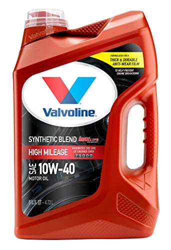 Valvoline High Mileage with MaxLife Technology SAE 10W-40 Synthetic Blend Motor Oil 5 QT
