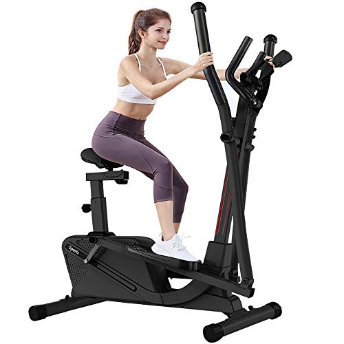 Dripex Cross Trainer Machine (2020 New Version) - 2in1 Elliptical Exercise Machine with 16 Level Adjustable Magnetic Resistance, LCD Monitor and Tablet Holder, Perfect for the home gym