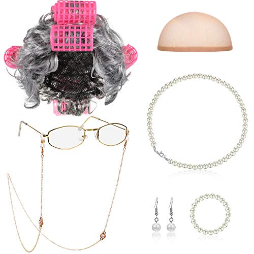 Old Lady Cosplay Set Granny Wig Cap Glasses Chain Cords Faux Pearl Bead Necklace (Gray Wig with Curlers)