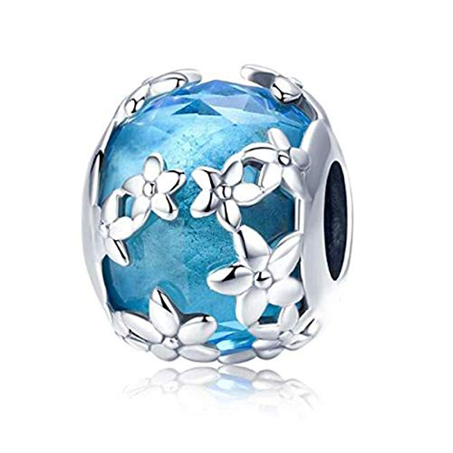 Murano Glass Bead Sterling Silver Core Charms For Pandora Charm Bracelets (Blue Glass Bead)