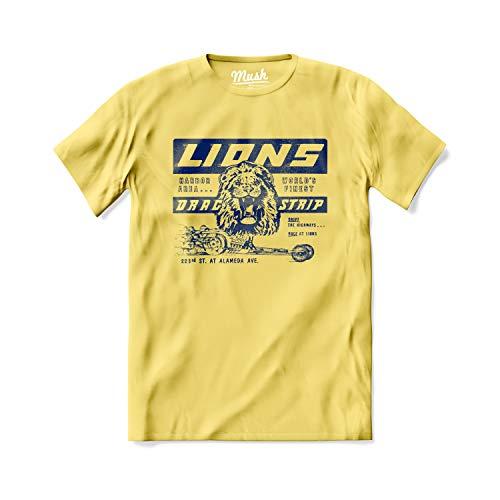 MUSH T-Shirt Cliff Booth, Lions Drag Strip, Brad Pitt - C'era Una Volta a Hollywood - Film Tarantino - 100% Cotone Organico, Large Uomo, Giallo Pastello