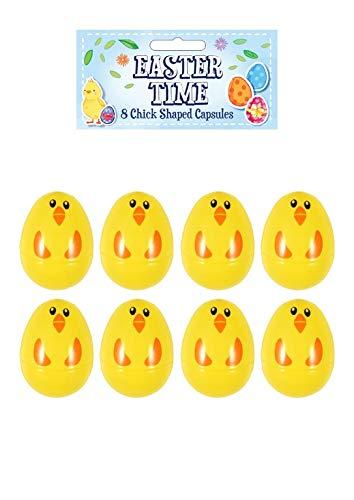 24 huevos amarillos de Pascua rellenables de plástico sorpresa, relleno con regalos de caza de Pascua y chocolate