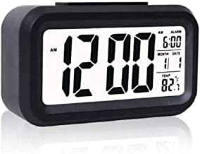 Truelife Plastic Digital Smart Backlight Battery Operated Alarm Table Clock with Automatic Sensor, Date and Temperature (Black)