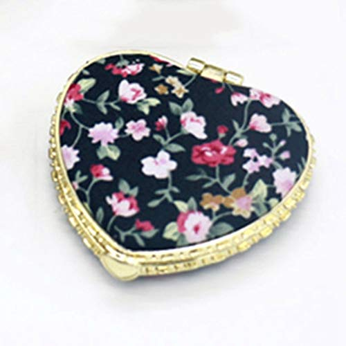 XLLF 1 pc Mini Maquillage Compact Pocket Miroir Floral Portable Deux-Pliage Make Up Mirror Femmes Vintage Cosmetic Mirrors for Gift (Color : BK2)