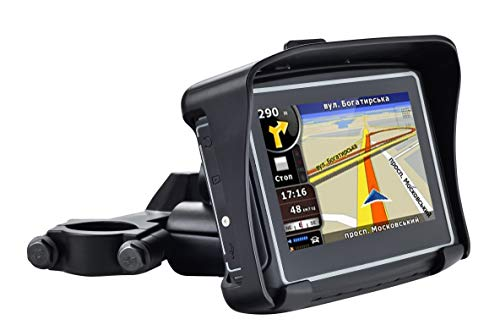 BELESH Waterproof GPS Navigation for Motorcycle Cars - 4.3 Inch Speeding Warning Voice Navigation Touch Screen Ultra Bright Rain-Resistant Display
