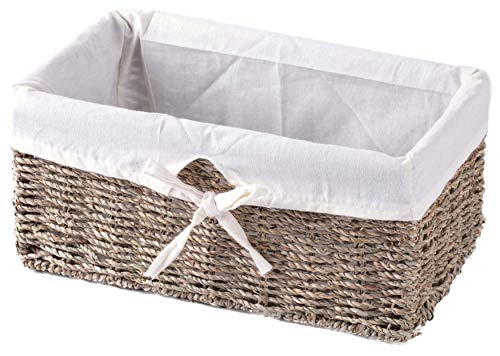 VintiquewiseTM Seagrass Shelf Basket Lined with White Lining
